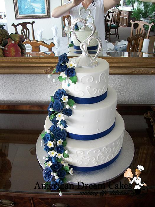 classic wedding cake in white and blue