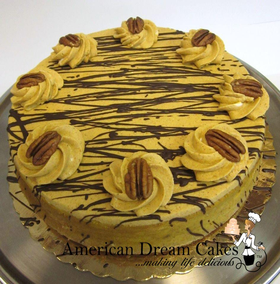 pumpkin cheesecake drizzled with chocolate