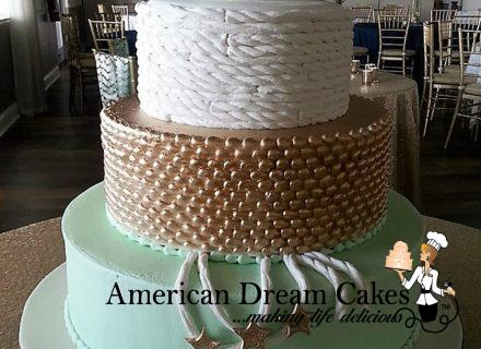 Nautical wedding cake, ropes starfish mint white and gold (2)
