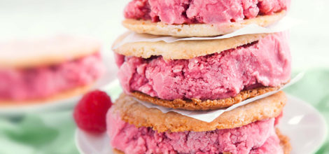 Raspberry ice-cream sandwich