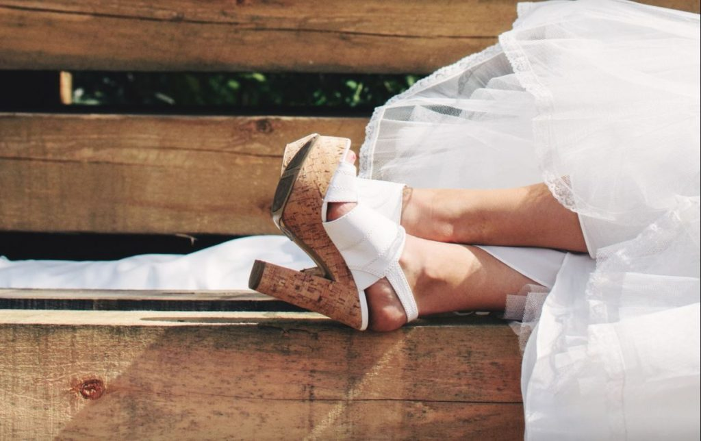 bride-cork-heels-wood-bench
