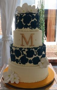 4-tier Navy & Champaign wedding cake