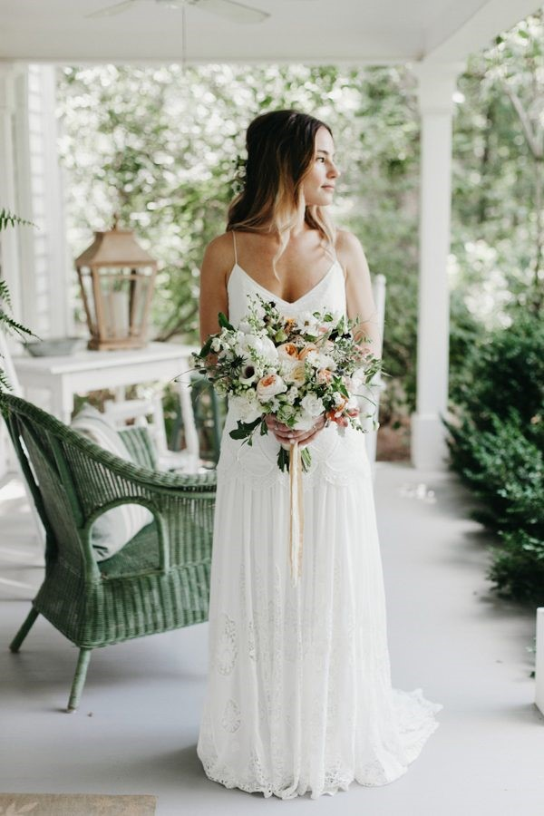 Bohemian wedding gown with boho bouquet from local flower farmer