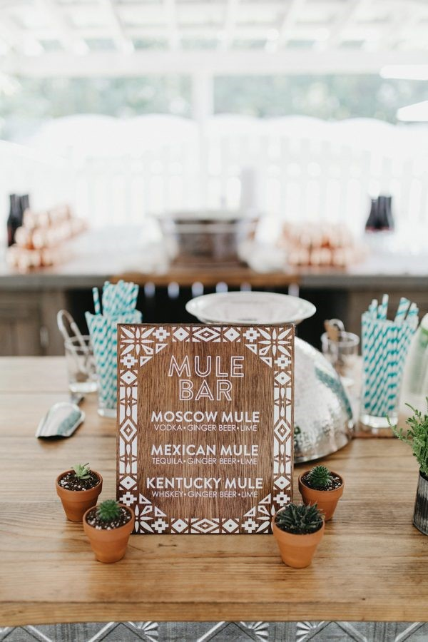 Drink menu with Moscow, Mexican, and Kentucky Mule variations