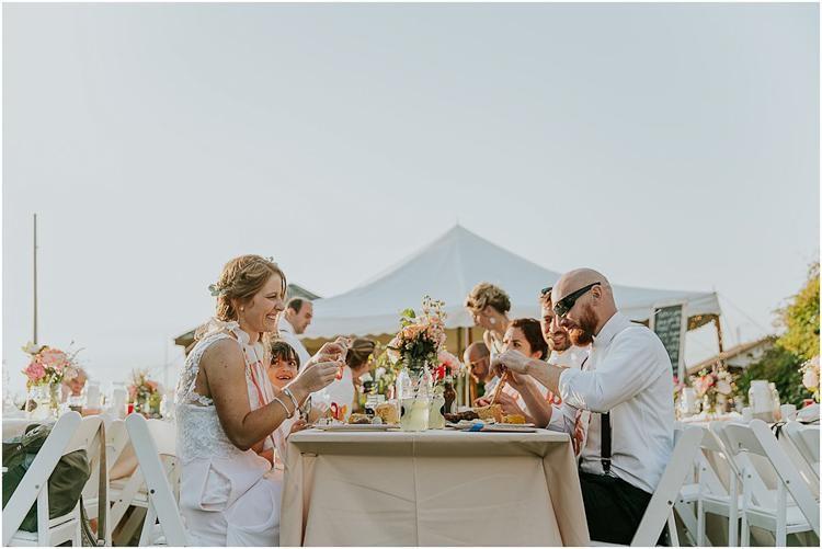 Boho outdoor beach reception wedding party head table