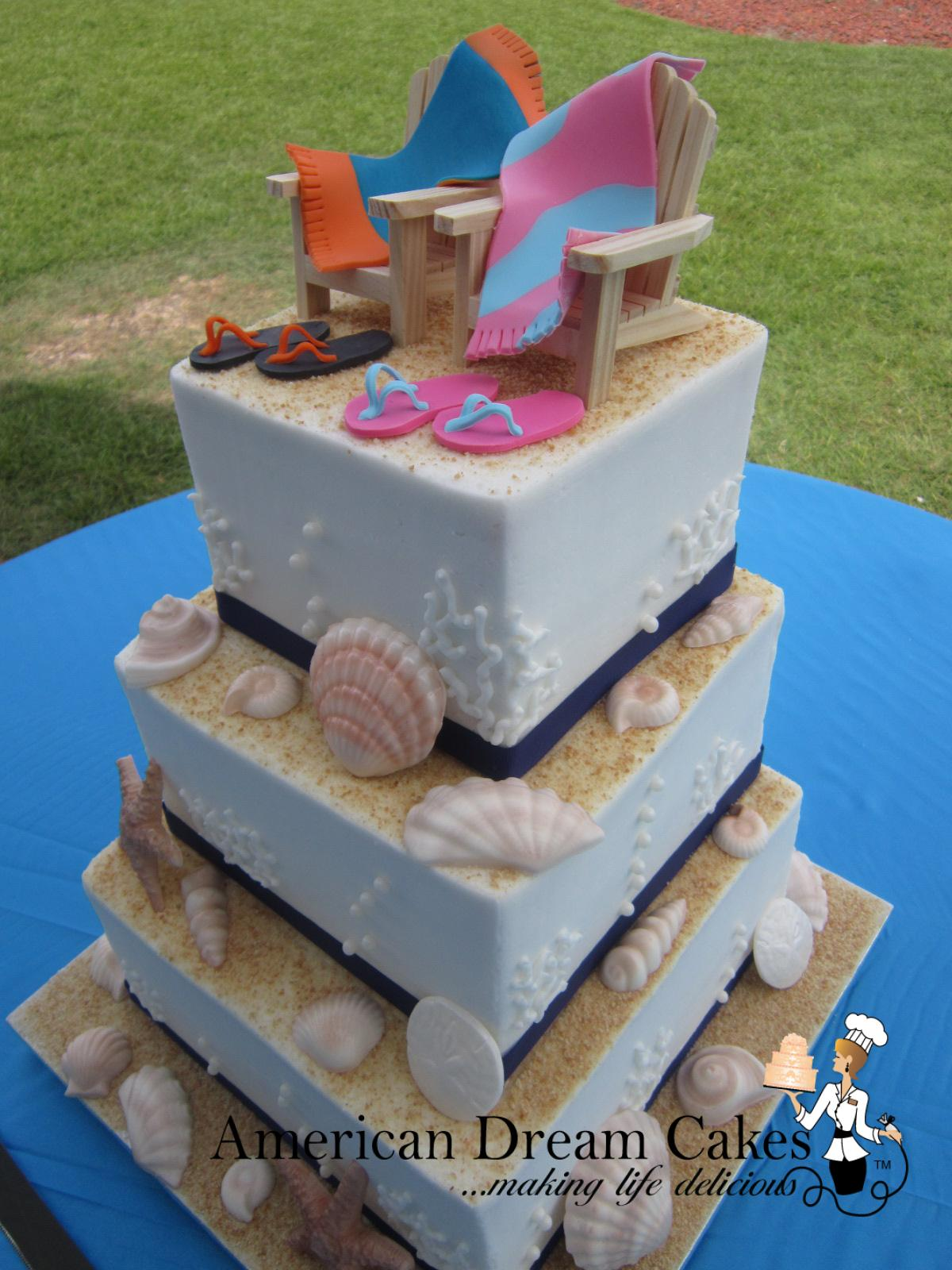 Nautical beach wedding cake