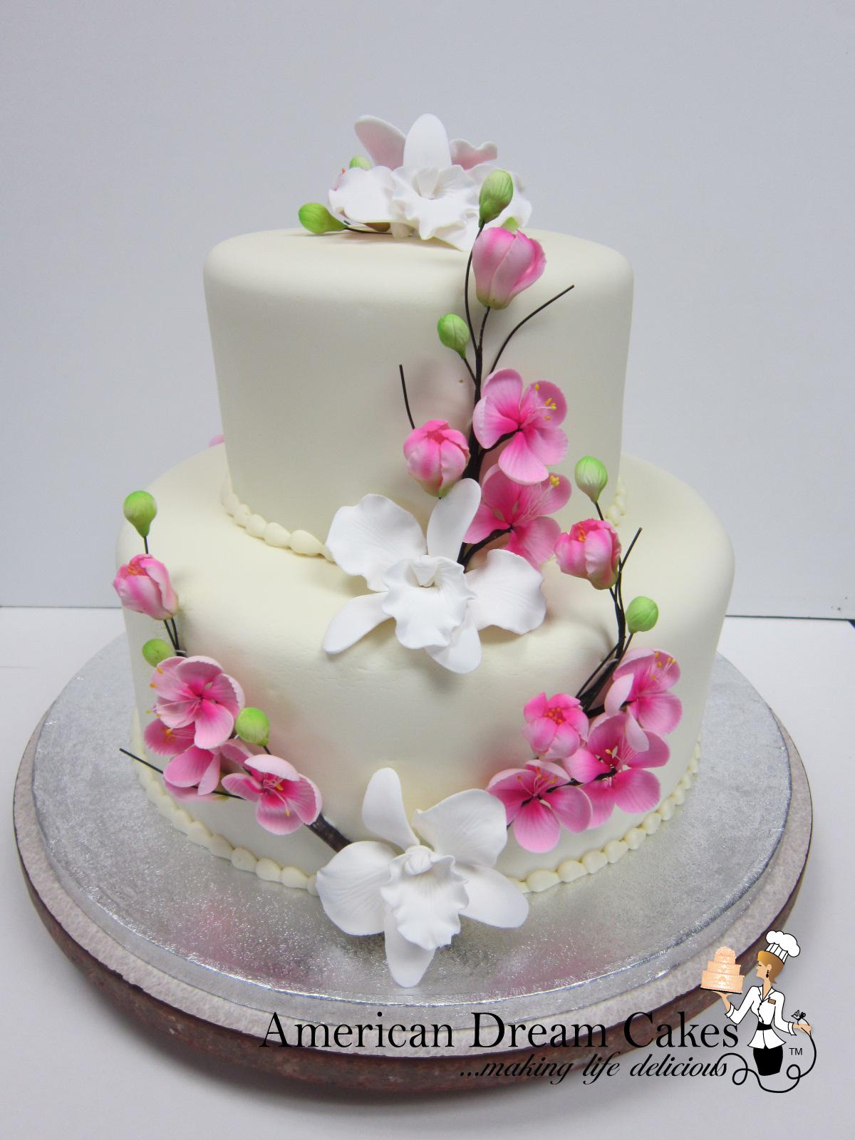 Oriental themed wedding cake, cherry blossom orchid