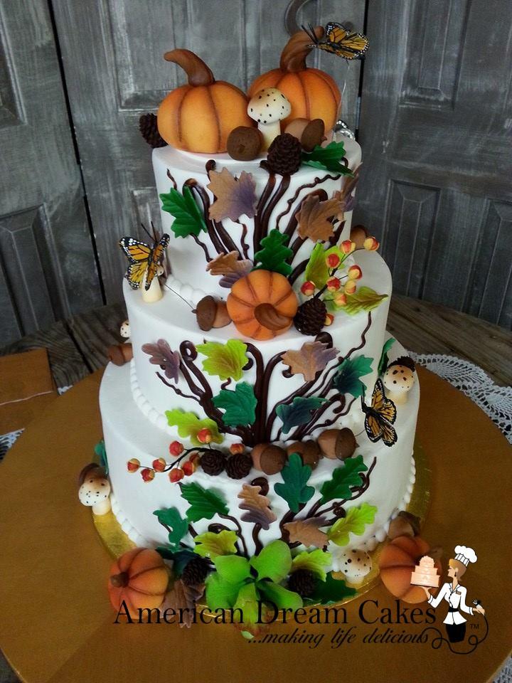Fall, woodland themed wedding cake